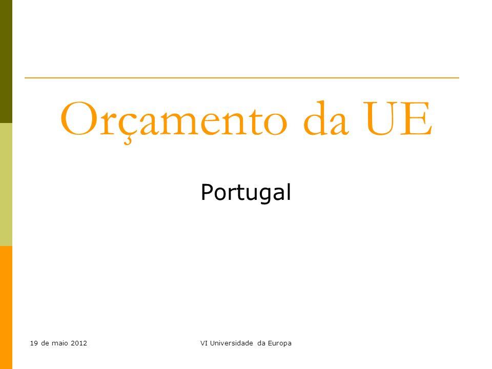 19 de maio 2012VI Universidade da Europa Orçamento da UE Portugal