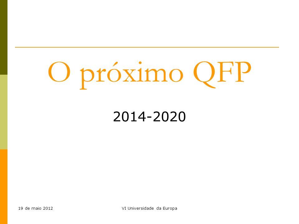 19 de maio 2012VI Universidade da Europa O próximo QFP 2014-2020
