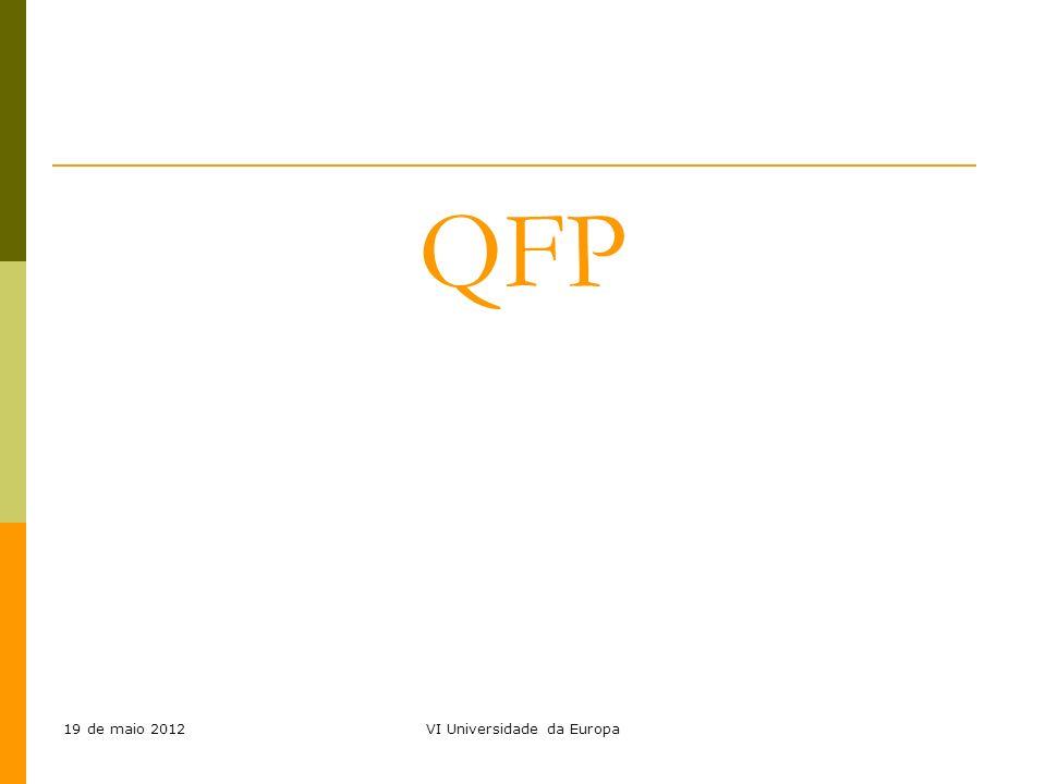 19 de maio 2012VI Universidade da Europa QFP