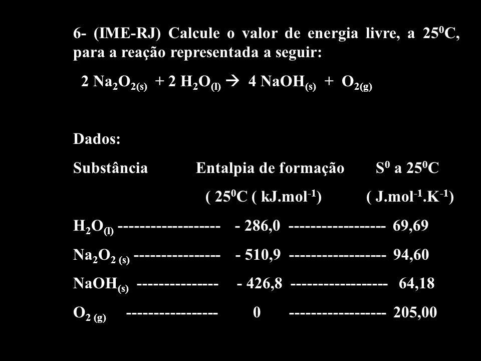 6- (IME-RJ) Calcule o valor de energia livre, a 25 0 C, para a reação representada a seguir: 2 Na 2 O 2(s) + 2 H 2 O (l) 4 NaOH (s) + O 2(g) Dados: Su