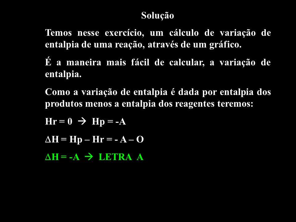 Solução Temos nesse exercício, um cálculo de variação de entalpia de uma reação, através de um gráfico. É a maneira mais fácil de calcular, a variação