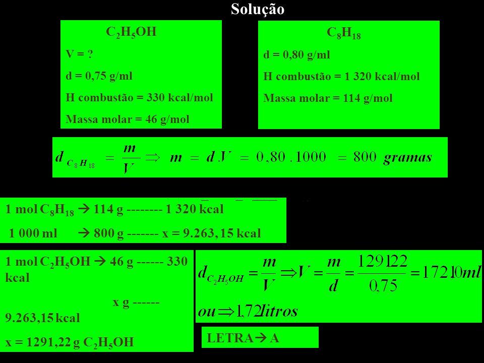 Solução C 2 H 5 OH V = ? d = 0,75 g/ml H combustão = 330 kcal/mol Massa molar = 46 g/mol C 8 H 18 d = 0,80 g/ml H combustão = 1 320 kcal/mol Massa mol