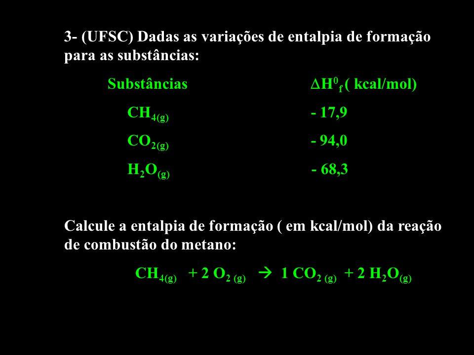 3- (UFSC) Dadas as variações de entalpia de formação para as substâncias: Substâncias H 0 f ( kcal/mol) CH 4(g) - 17,9 CO 2(g) - 94,0 H 2 O (g) - 68,3