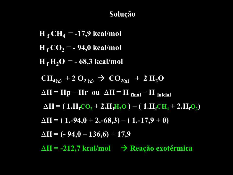 Solução H f CH 4 = -17,9 kcal/mol H f CO 2 = - 94,0 kcal/mol H f H 2 O = - 68,3 kcal/mol CH 4(g) + 2 O 2 (g) CO 2(g) + 2 H 2 O H = Hp – Hr ou H = H fi