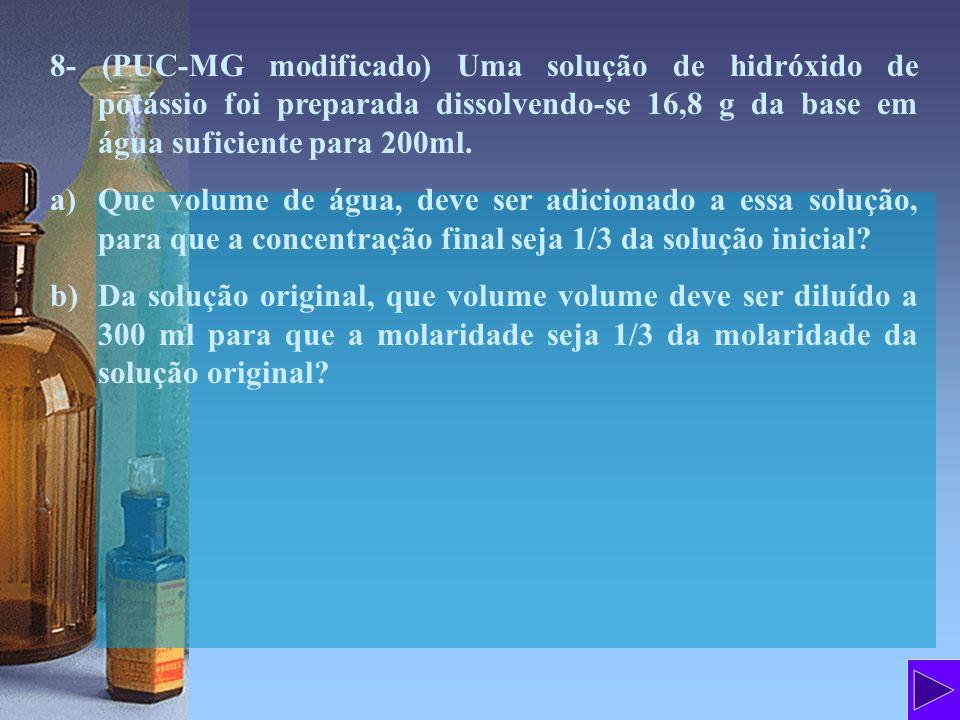 8- (PUC-MG modificado) Uma solução de hidróxido de potássio foi preparada dissolvendo-se 16,8 g da base em água suficiente para 200ml. a)Que volume de