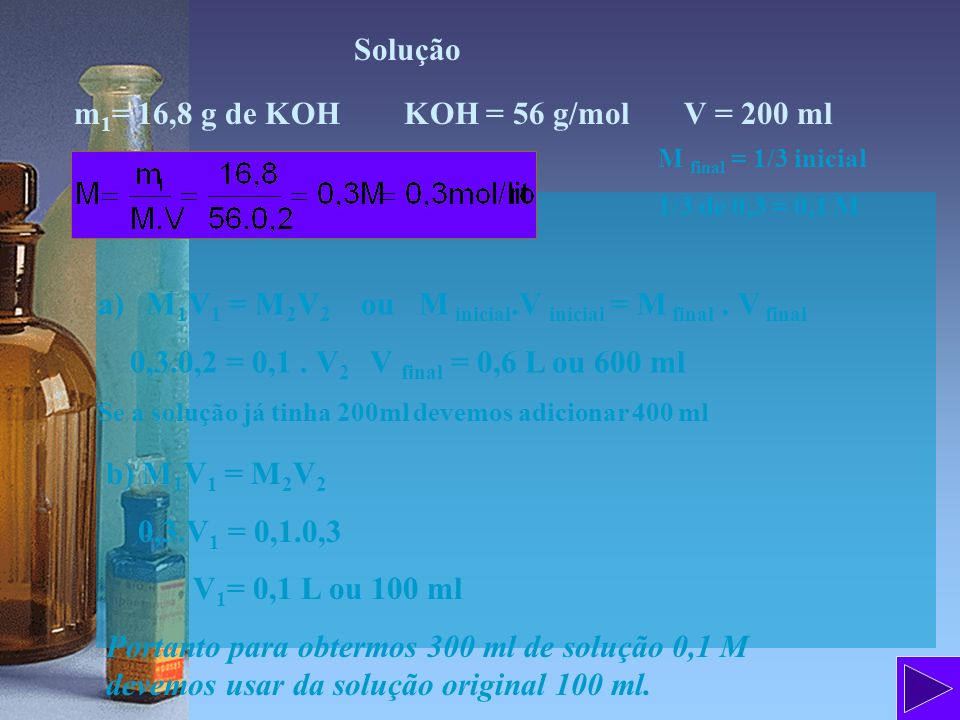 Solução m 1 = 16,8 g de KOH KOH = 56 g/mol V = 200 ml a)M 1 V 1 = M 2 V 2 ou M inicial.V inicial = M final. V final 0,3.0,2 = 0,1. V 2 V final = 0,6 L