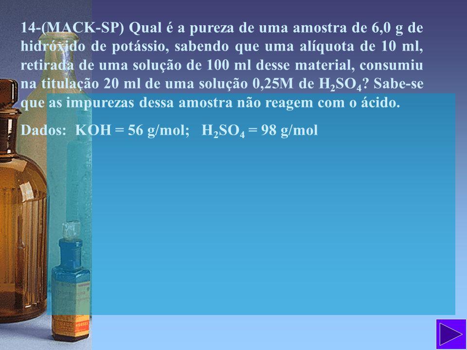 14-(MACK-SP) Qual é a pureza de uma amostra de 6,0 g de hidróxido de potássio, sabendo que uma alíquota de 10 ml, retirada de uma solução de 100 ml de