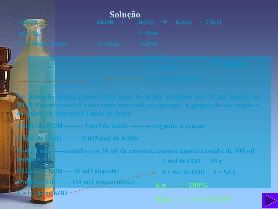 Solução 2 KOH 2KOH + H 2 SO 4 K 2 SO 4 + 2 H 2 O m 1 = 6 g V=20ml V= 100ml=0,1litro V=10ml 0,25M n 1 = M.V n 1 =0,25.0,02 n 1 = 0,005 mols H 2 SO 4 Na