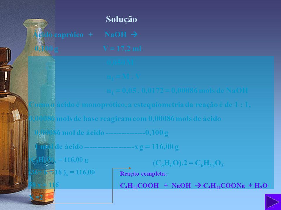 Solução Ácido capróico + NaOH 0,100 g V = 17,2 ml 0,050 M n 1 = M. V n 1 = 0,05. 0,0172 = 0,00086 mols de NaOH Como o ácido é monoprótico, a estequiom