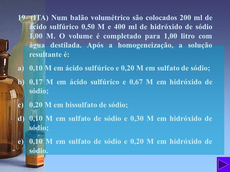 19- (ITA) Num balão volumétrico são colocados 200 ml de ácido sulfúrico 0,50 M e 400 ml de hidróxido de sódio 1,00 M. O volume é completado para 1,00