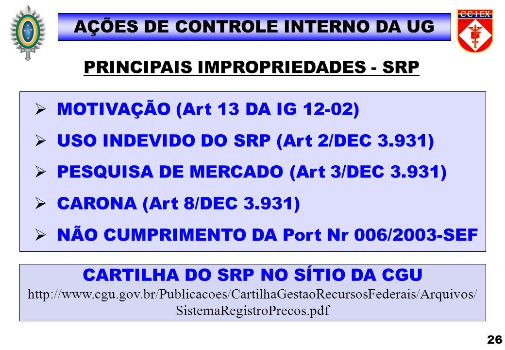 MOTIVAÇÃO (Art 13 DA IG 12-02) USO INDEVIDO DO SRP (Art 2/DEC 3.931) PESQUISA DE MERCADO (Art 3/DEC 3.931) CARONA (Art 8/DEC 3.931) NÃO CUMPRIMENTO DA
