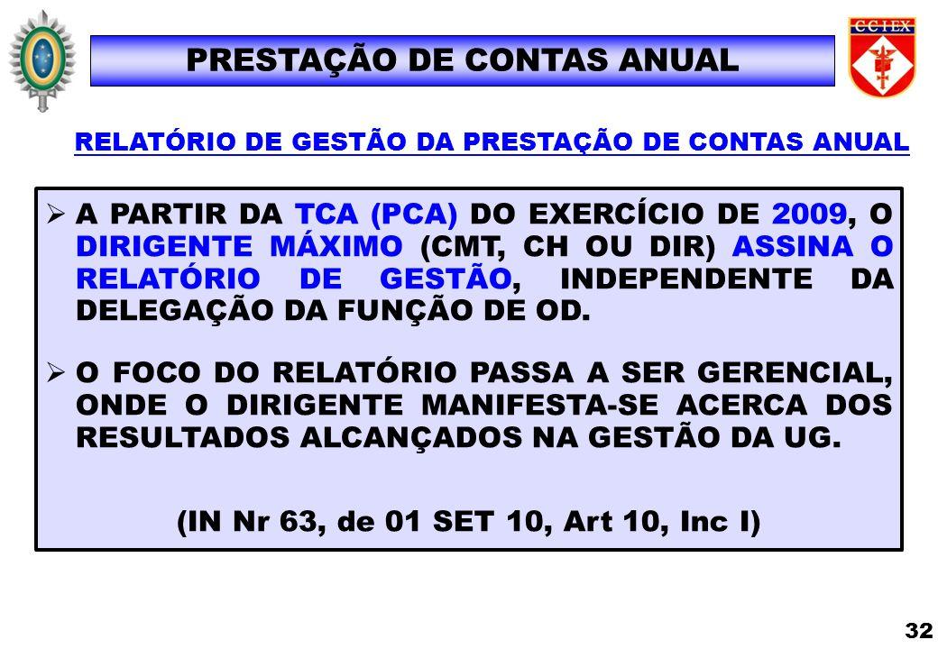 A PARTIR DA TCA (PCA) DO EXERCÍCIO DE 2009, O DIRIGENTE MÁXIMO (CMT, CH OU DIR) ASSINA O RELATÓRIO DE GESTÃO, INDEPENDENTE DA DELEGAÇÃO DA FUNÇÃO DE O