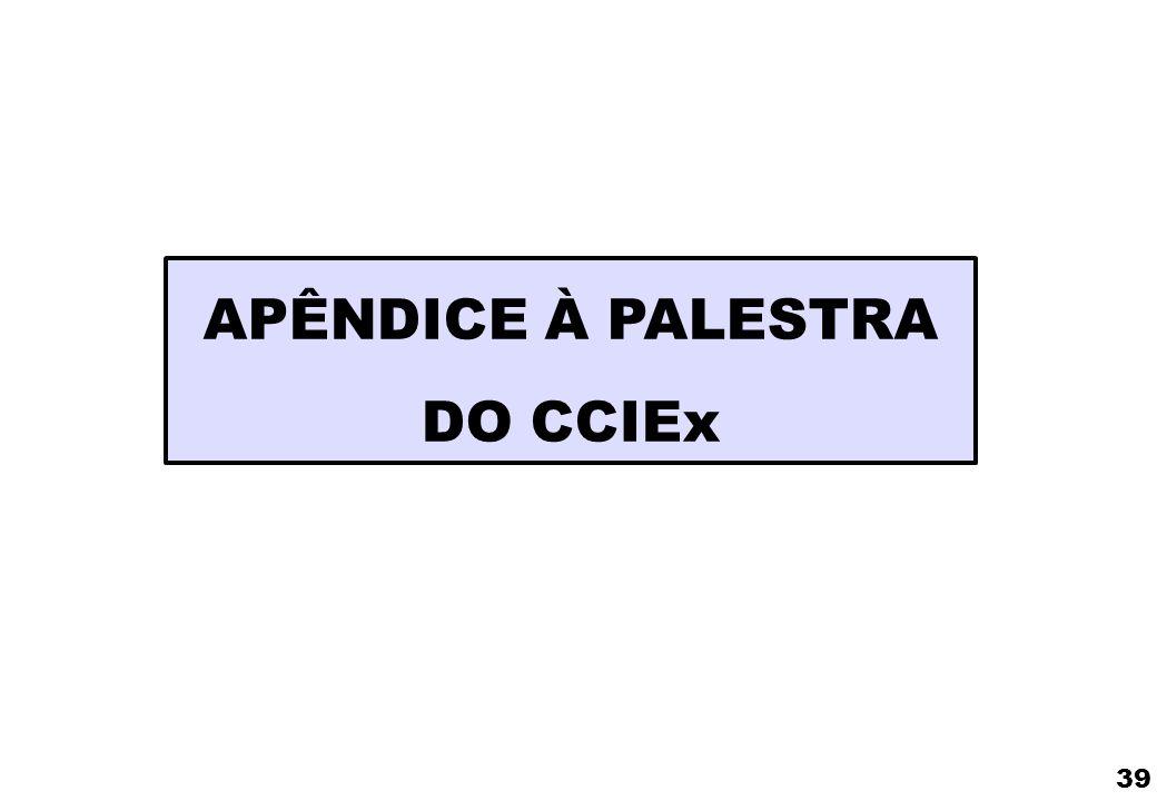 APÊNDICE À PALESTRA DO CCIEx 39