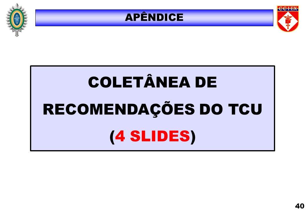 COLETÂNEA DE RECOMENDAÇÕES DO TCU (4 SLIDES) APÊNDICE 40