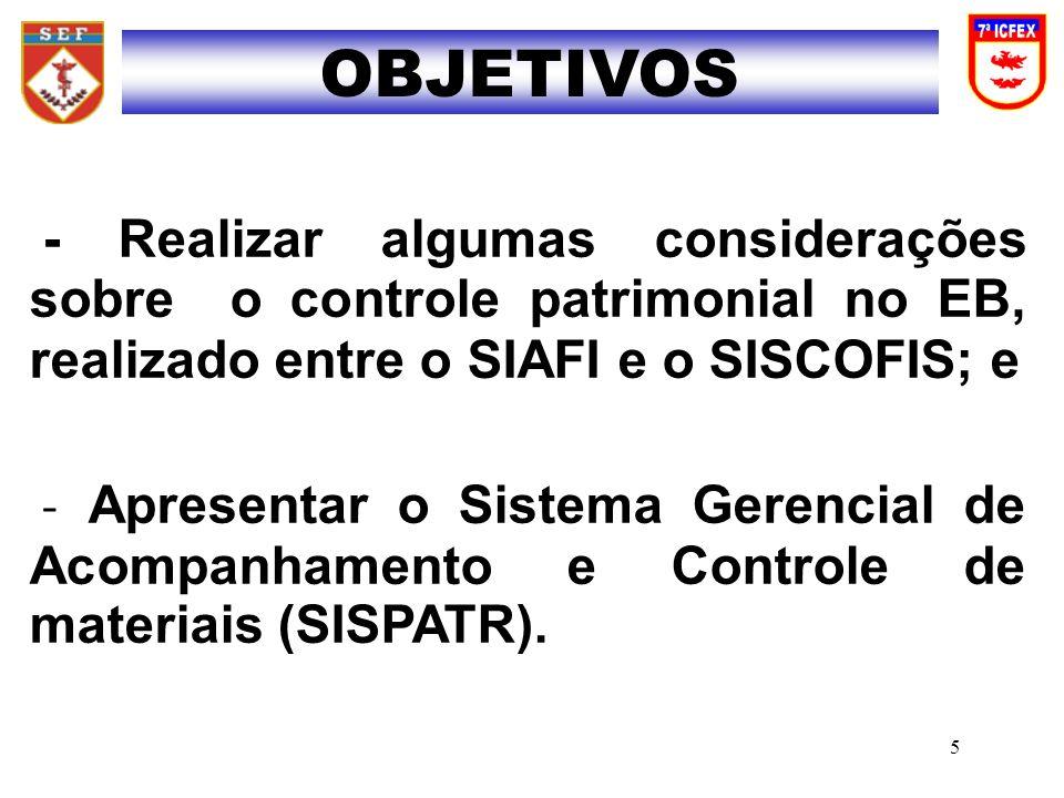 INTRODUÇÃO DESENVOLVIMENTO - LEGISLAÇÃO - SITUAÇÃO GERAL DO CONTROLE PATRIMONIAL - SISCOFIS - CONCILIAÇÃO PATRIMONIAL - SISPATR - EXERCÍCIOS CONCLUSÃO SUMÁRIO 6