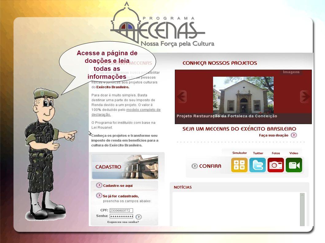 Acesse a página de doações e leia todas as informações