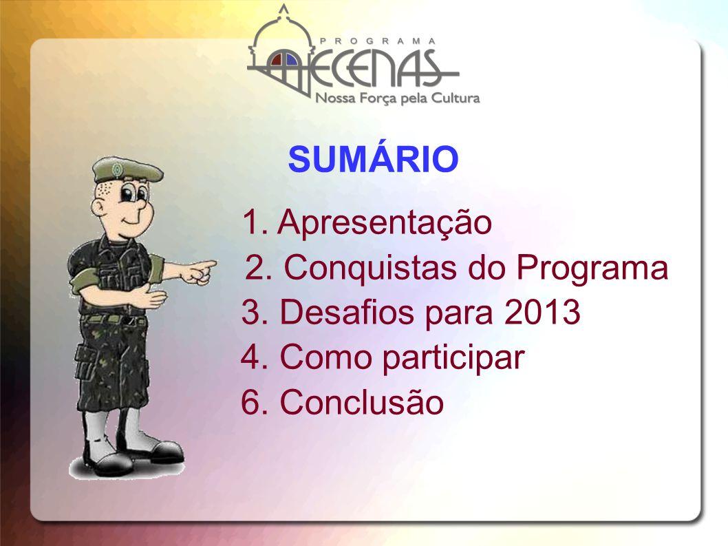 SUMÁRIO 1. Apresentação 2. Conquistas do Programa 3. Desafios para 2013 4. Como participar 6. Conclusão