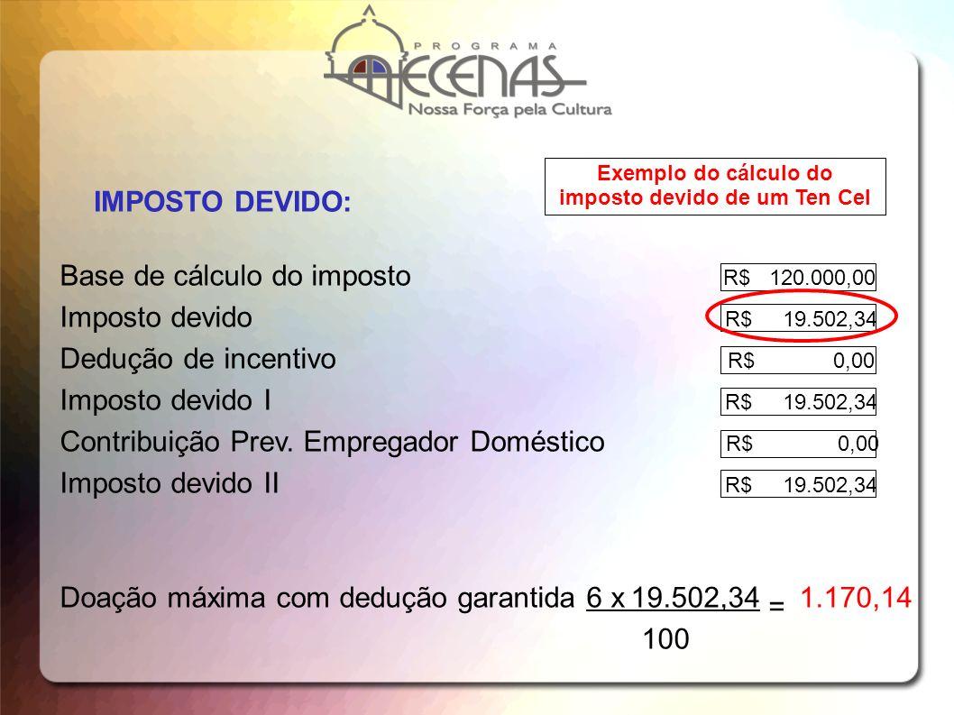 IMPOSTO DEVIDO: Base de cálculo do imposto R$ 120.000,00 Imposto devido R$ 19.502,34 Dedução de incentivo R$ 0,00 Imposto devido I R$ 19.502,34 Contri