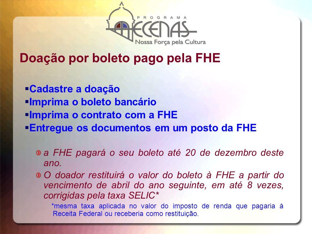 Doação por boleto pago pela FHE Cadastre a doação Imprima o boleto bancário Imprima o contrato com a FHE Entregue os documentos em um posto da FHE a F