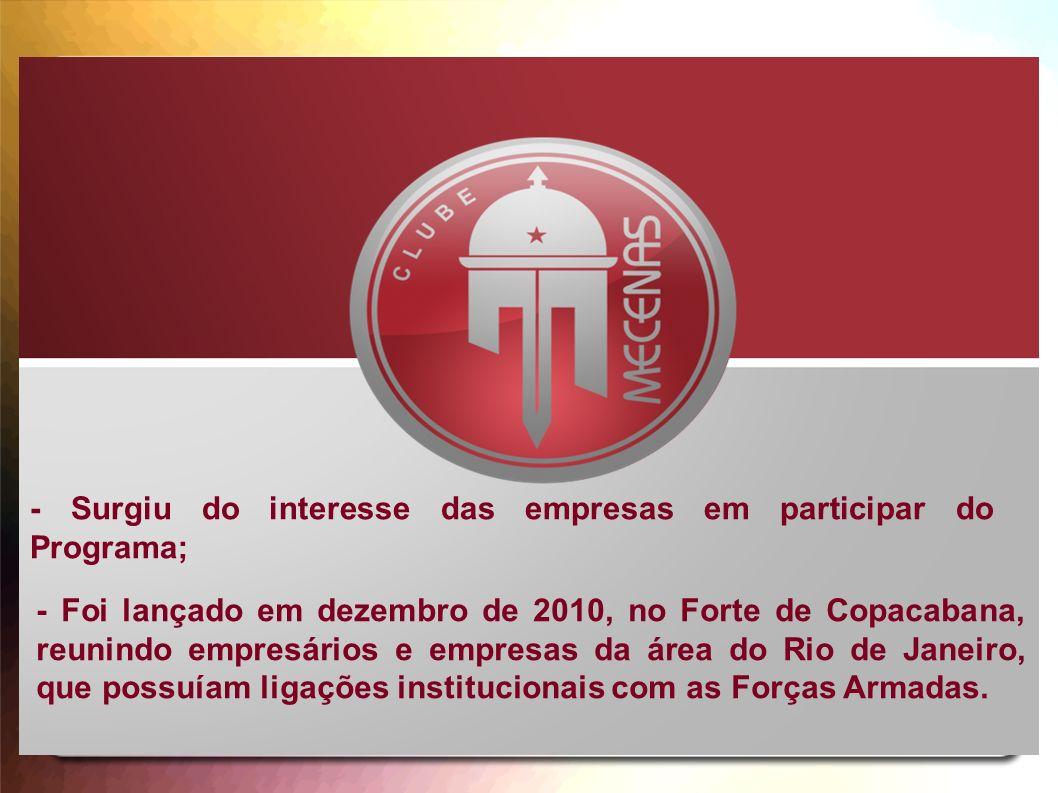 - Surgiu do interesse das empresas em participar do Programa; - Foi lançado em dezembro de 2010, no Forte de Copacabana, reunindo empresários e empres