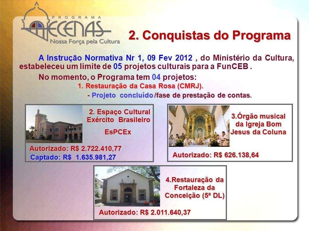 Projeto CulturalValor (R$) Museu do Comando Militar do Sul (Porto Alegre/RS)4.256.675,97 Espaço Cultural Mello e Cáceres (Campo Grande/MS)1.583.267,94 Forte Mont Serrat (Salvador/BA)2.083.683,81 Restauração do MNMSGM (Rio de Janeiro/RJ)962.301,69 Restauração do Forte São Luiz (Niterói/RJ)900.000,00 Museu Guararapes (Recife/PE)3.065.713,36 Anfiteatro Guararapes (Recife/PE)3.252.635,75 Restauração do Casarão Ribeirão das Rosas (Juiz de Fora/MG) 2.905.270,70 Além dos 04 (quatro) projetos em captação, o Programa tem outros 08 (oito), abaixo listados, em condições de serem propostos ao Ministério da Cultura, nesse ano de 2013.