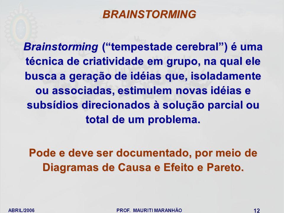 ABRIL/2006PROF. MAURITI MARANHÃO 12 Brainstorming (tempestade cerebral) é uma técnica de criatividade em grupo, na qual ele busca a geração de idéias