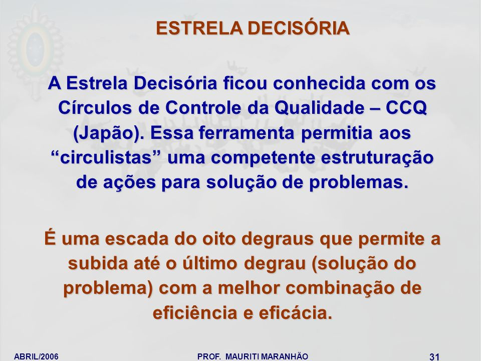ABRIL/2006PROF. MAURITI MARANHÃO 31 A Estrela Decisória ficou conhecida com os Círculos de Controle da Qualidade – CCQ (Japão). Essa ferramenta permit