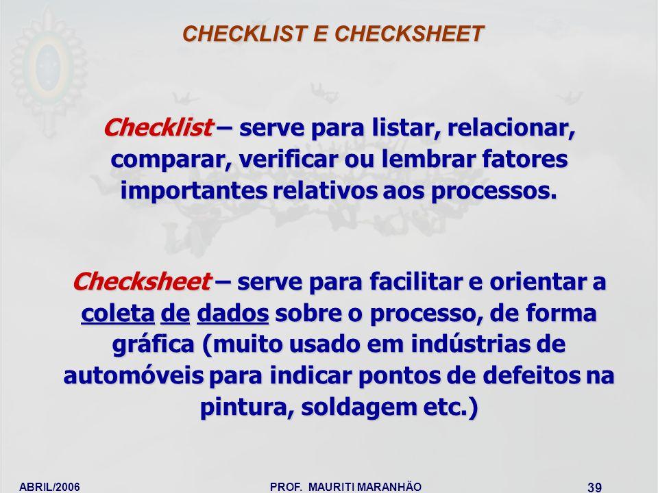 ABRIL/2006PROF. MAURITI MARANHÃO 39 Checklist – serve para listar, relacionar, comparar, verificar ou lembrar fatores importantes relativos aos proces