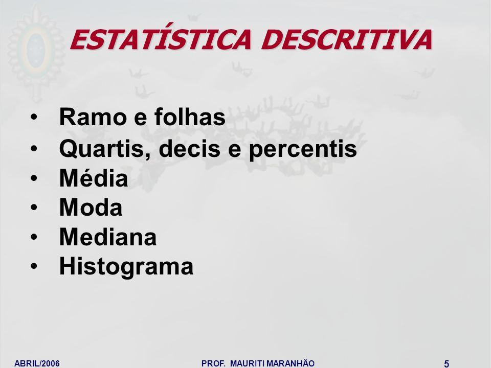 ABRIL/2006PROF. MAURITI MARANHÃO 5 ESTATÍSTICA DESCRITIVA Ramo e folhas Quartis, decis e percentis Média Moda Mediana Histograma
