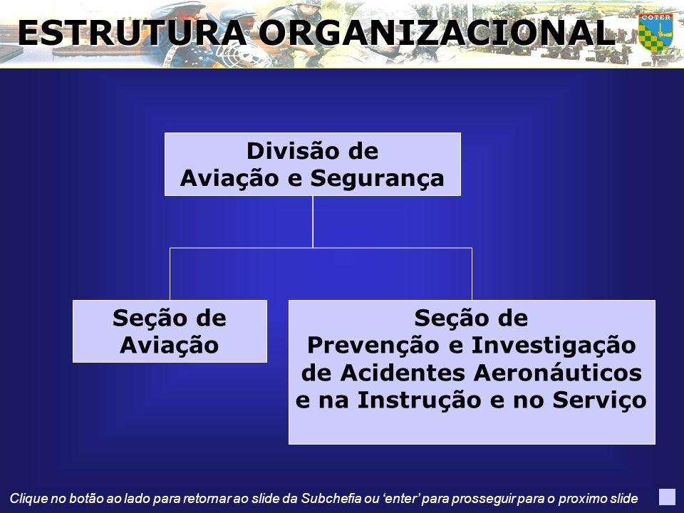 Divisão de Aviação e Segurança Seção de Prevenção e Investigação de Acidentes Aeronáuticos e na Instrução e no Serviço Seção de Aviação ESTRUTURA ORGA