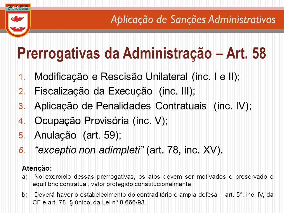 Aplicação de Sanções Administrativas 1. Modificação e Rescisão Unilateral (inc. I e II); 2. Fiscalização da Execução (inc. III); 3. Aplicação de Penal
