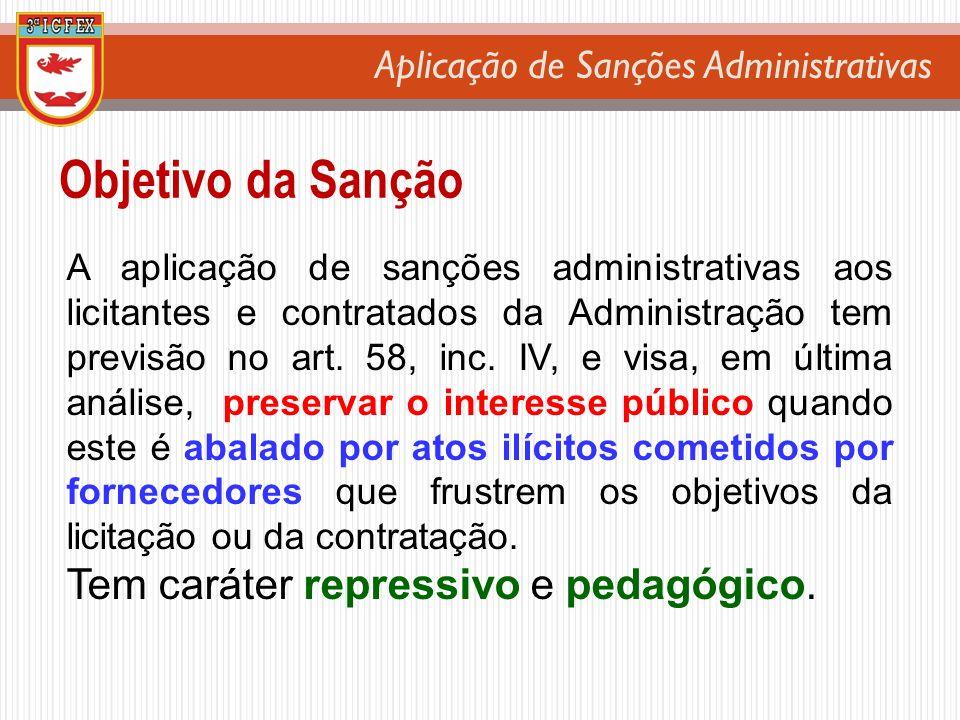 Aplicação de Sanções Administrativas Objetivo da Sanção A aplicação de sanções administrativas aos licitantes e contratados da Administração tem previ
