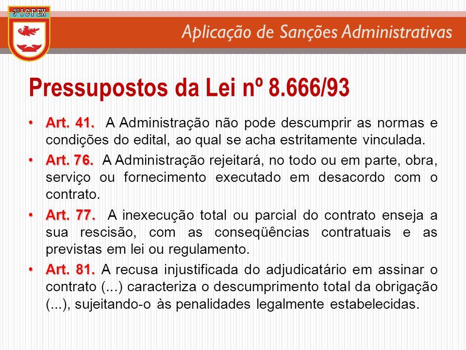 Aplicação de Sanções Administrativas Art. 41.Art. 41. A Administração não pode descumprir as normas e condições do edital, ao qual se acha estritament