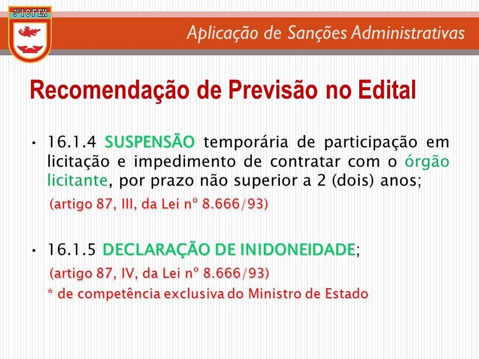 Aplicação de Sanções Administrativas SUSPENSÃO16.1.4 SUSPENSÃO temporária de participação em licitação e impedimento de contratar com o órgão licitant