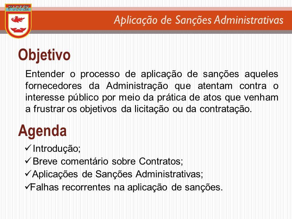 Aplicação de Sanções Administrativas Objetivo Entender o processo de aplicação de sanções aqueles fornecedores da Administração que atentam contra o i