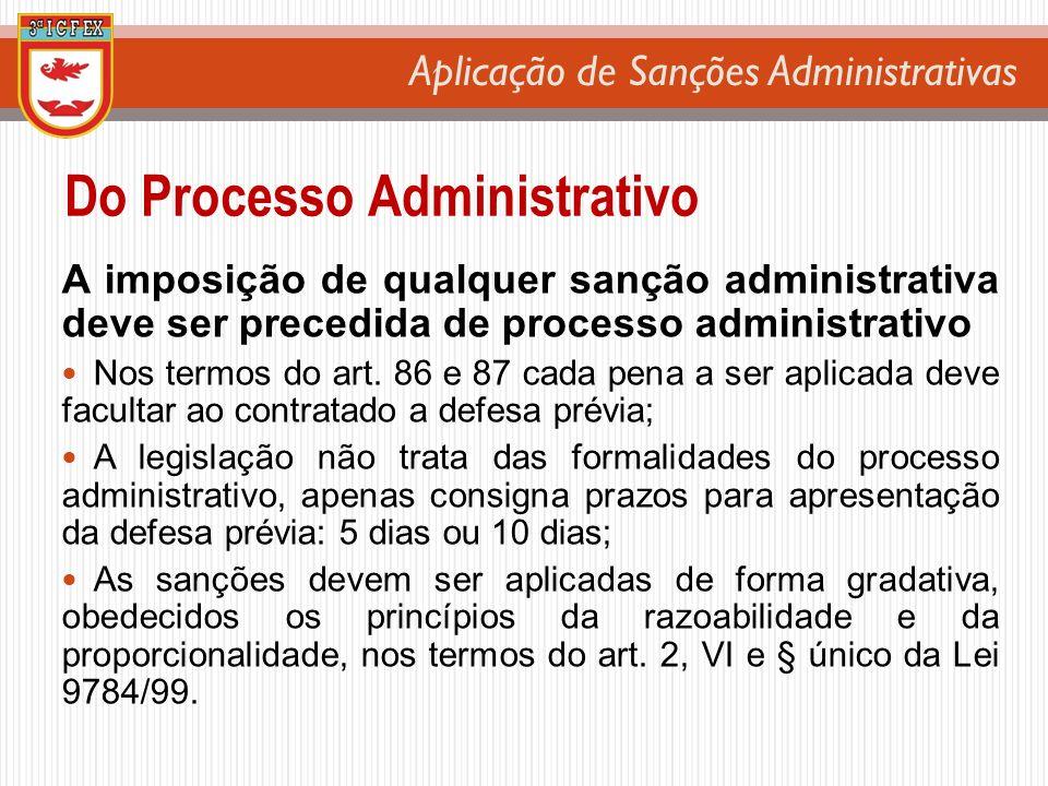 Aplicação de Sanções Administrativas A imposição de qualquer sanção administrativa deve ser precedida de processo administrativo Nos termos do art. 86