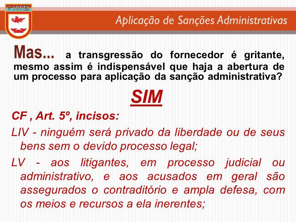 Aplicação de Sanções Administrativas Mas... a transgressão do fornecedor é gritante, mesmo assim é indispensável que haja a abertura de um processo pa