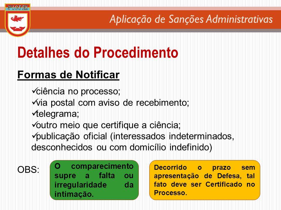 Aplicação de Sanções Administrativas Detalhes do Procedimento Formas de Notificar ciência no processo; via postal com aviso de recebimento; telegrama;