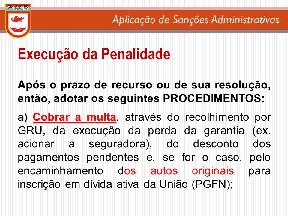 Aplicação de Sanções Administrativas Após o prazo de recurso ou de sua resolução, então, adotar os seguintes PROCEDIMENTOS: a) Cobrar a multa a) Cobra