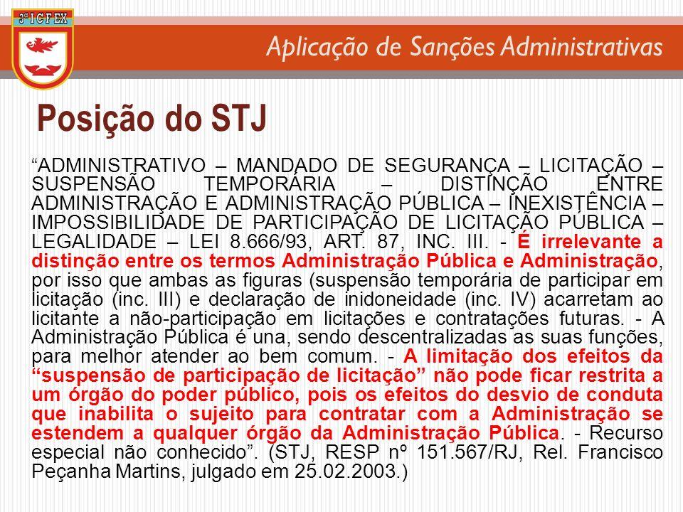 Aplicação de Sanções Administrativas Posição do STJ ADMINISTRATIVO – MANDADO DE SEGURANÇA – LICITAÇÃO – SUSPENSÃO TEMPORÁRIA – DISTINÇÃO ENTRE ADMINIS