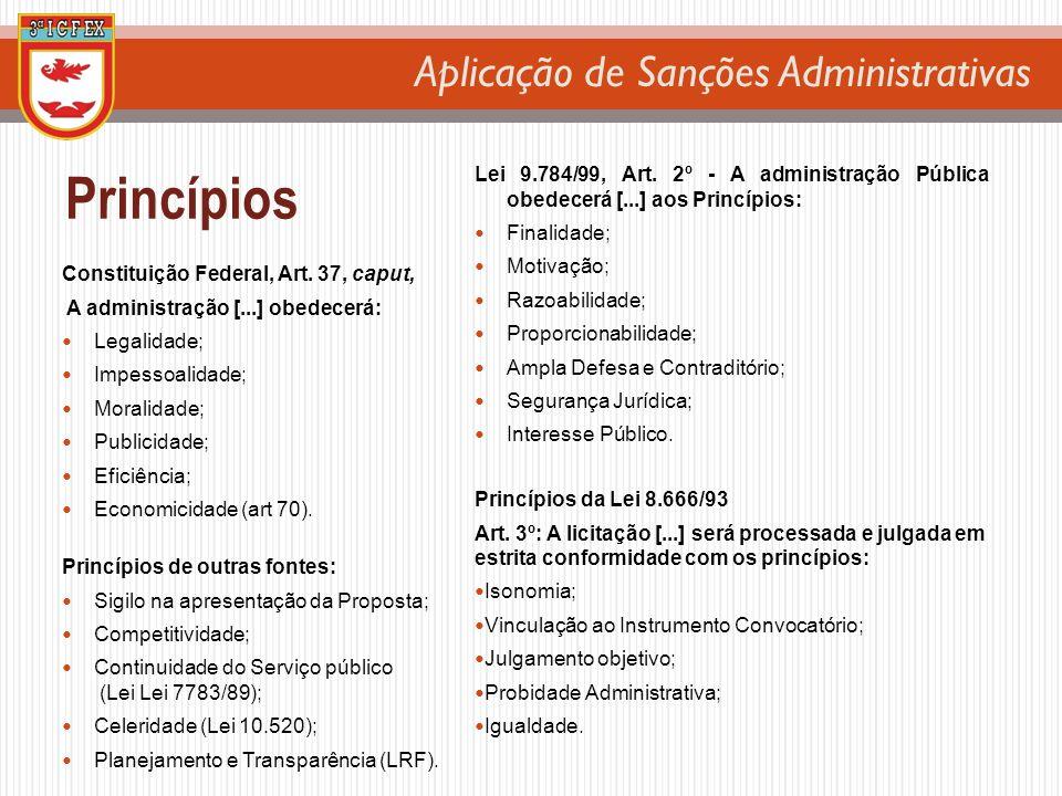 Aplicação de Sanções Administrativas Princípios Constituição Federal, Art. 37, caput, A administração [...] obedecerá: Legalidade; Impessoalidade; Mor