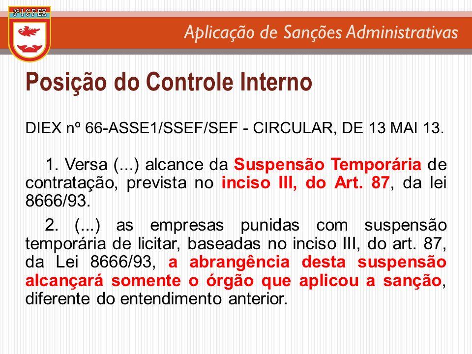 Aplicação de Sanções Administrativas Posição do Controle Interno DIEX nº 66-ASSE1/SSEF/SEF - CIRCULAR, DE 13 MAI 13. 1. Versa (...) alcance da Suspens
