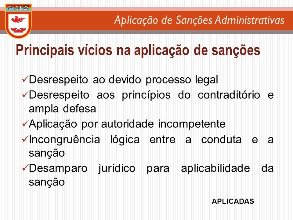 Aplicação de Sanções Administrativas Principais vícios na aplicação de sanções Desrespeito ao devido processo legal Desrespeito aos princípios do cont