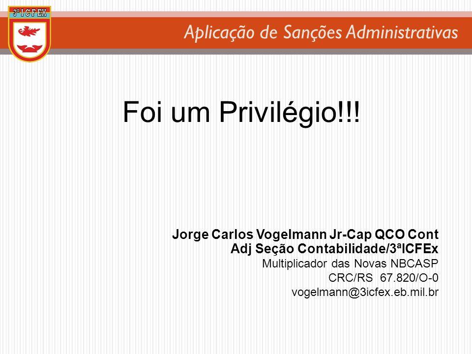 Aplicação de Sanções Administrativas Foi um Privilégio!!! Jorge Carlos Vogelmann Jr-Cap QCO Cont Adj Seção Contabilidade/3ªICFEx Multiplicador das Nov