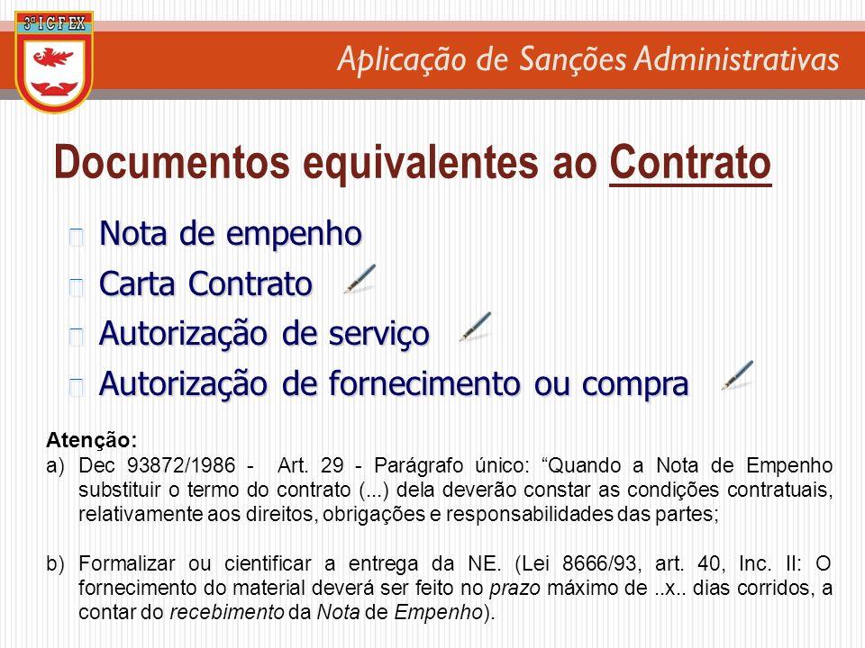 Aplicação de Sanções Administrativas Nota de empenho Nota de empenho Carta Contrato Carta Contrato Autorização de serviço Autorização de serviço Autor
