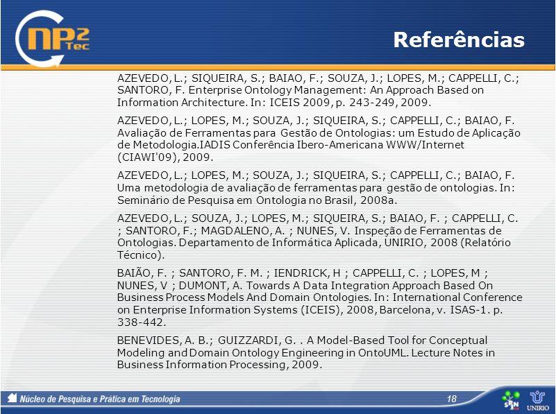 Referências AZEVEDO, L.; SIQUEIRA, S.; BAIAO, F.; SOUZA, J.; LOPES, M.; CAPPELLI, C.; SANTORO, F. Enterprise Ontology Management: An Approach Based on