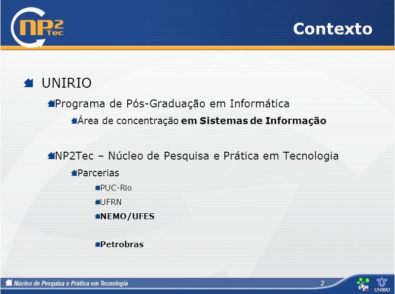 Contexto UNIRIO Programa de Pós-Graduação em Informática Área de concentração em Sistemas de Informação NP2Tec – Núcleo de Pesquisa e Prática em Tecno