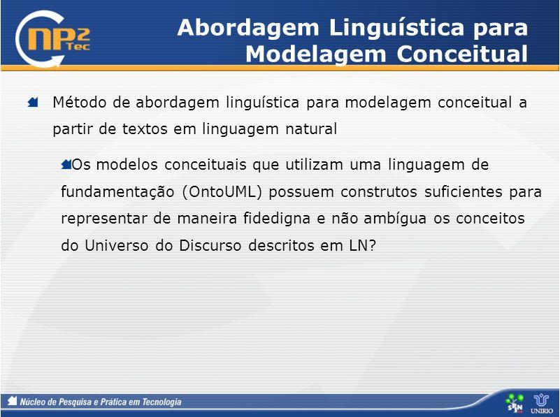 Abordagem Linguística para Modelagem Conceitual Método de abordagem linguística para modelagem conceitual a partir de textos em linguagem natural Os m
