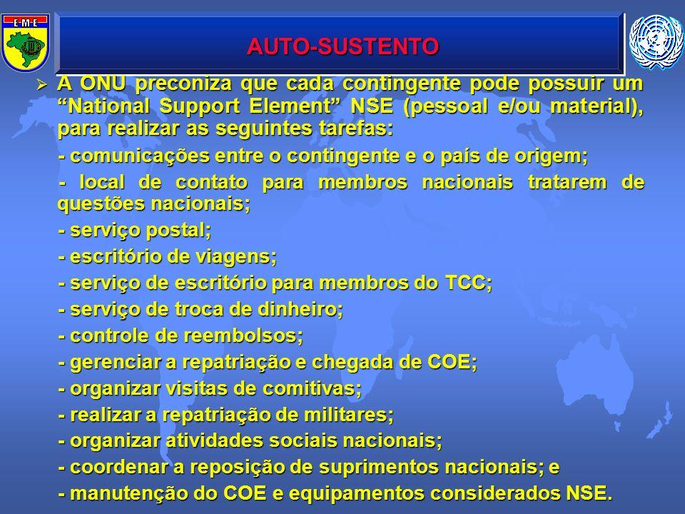 AUTO-SUSTENTO A ONU preconiza que cada contingente pode possuir um National Support Element NSE (pessoal e/ou material), para realizar as seguintes ta