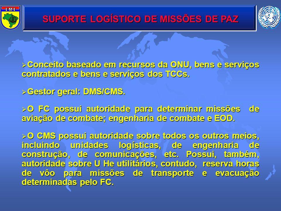 SUPORTE LOGÍSTICO DE MISSÕES DE PAZ Conceito baseado em recursos da ONU, bens e serviços contratados e bens e serviços dos TCCs. Conceito baseado em r
